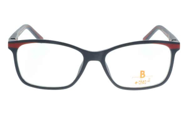Brille +choc- C508 d.blau matt oberer Augenrand rot streifen  Brillenmann