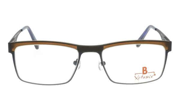 Brille Xclusiv XCF25 dunkelblau mit brauner TR 90-Applikation matt |Brillenmann