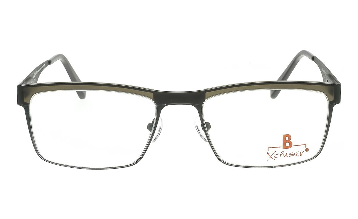 Brille Xclusiv XCF25 dunkelgrün mit grauer TR 90-Applikation matt  Brillenmann