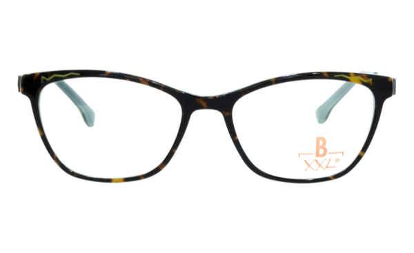 Brille XXL XXL1035 havanna glänzend mit Zierfräsung grün glänzend |Brillenmann