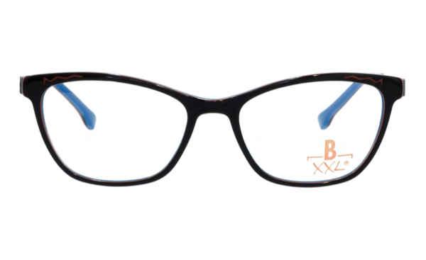 Brille XXL XXL1035 schwarz glänzend mit Zierfräsung orange glänzend |Brillenmann