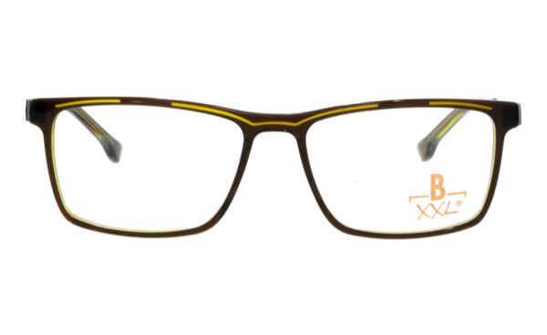 Brille XXL XXL1036 braun glänzend mit Zierfräsung gelb glänzend |Brillenmann