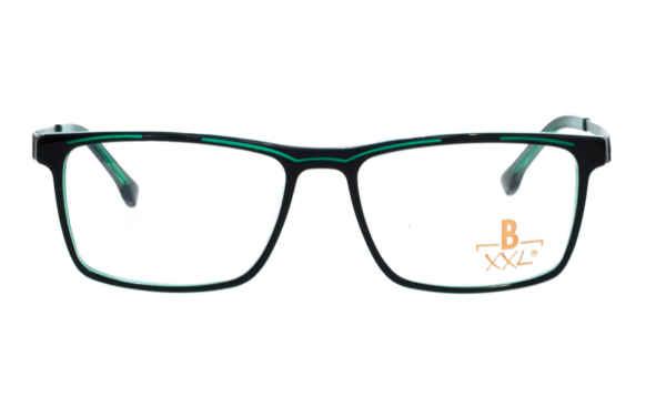 Brille XXL XXL1036 schwarz glänzend mit Zierfräsung grün glänzend |Brillenmann