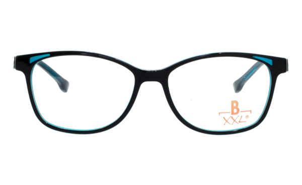 Brille XXL XXL1037 schwarz glänzend mit Zierfräsung blau glänzend |Brillenmann
